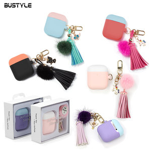 For iPhone Apple Airpods 2 Earphone Storage Case Liquid Silicon Soft Case With Pom Pom Keyring Holder For Air Pod Airpod Case