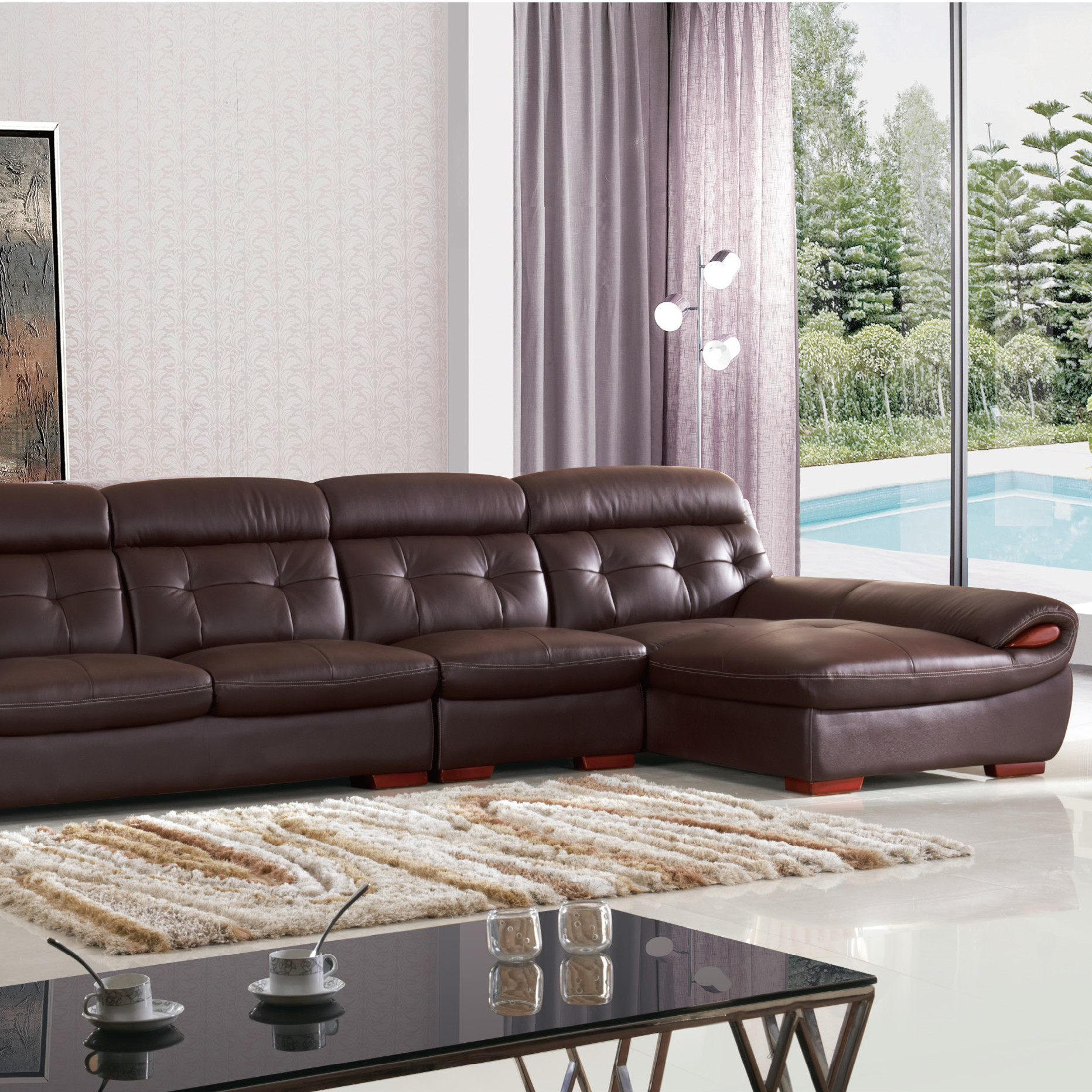 On sales modern furniture italian style sectional sofa set l shaped corner sofa 8817