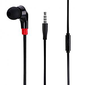 Samsung Galaxy S3 Compatible Premium Flat Wired Headset MONO Hands-free Earphone w Mic Single Earbud Headphone In-Ear [3.5mm] [Black]