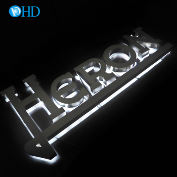 Embossing outdoor logo signage stainless steel acrylic 3d backlit light sign led letters