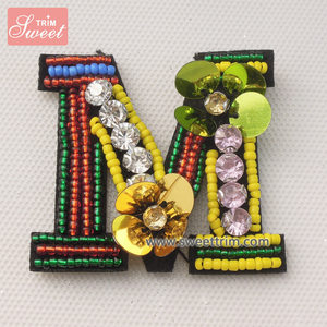hand made letter m beaded embroidery sew design patches