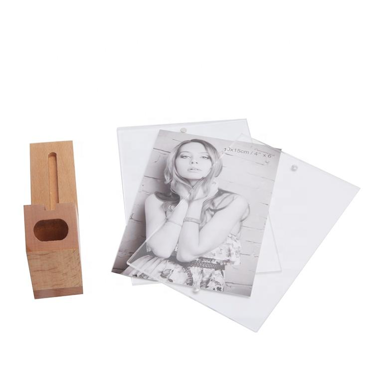 Multi-Purpose Acrylic Photo Frame Combine Wooden Desk Pen Holder
