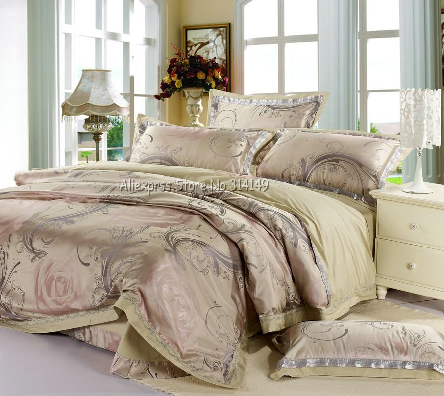 light pink floral prints colorful imitated silk duvet covers sets 4pcs bed sheets for comforter. Black Bedroom Furniture Sets. Home Design Ideas