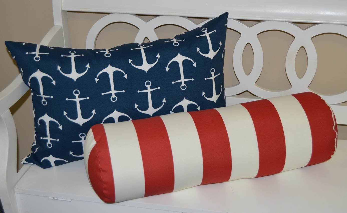 Set of 2 - Indoor / Outdoor Jumbo, Large, Over–sized, Rectangle / Lumbar & Neckroll / Bolster Chaise Lounge Decorative Throw / Toss Pillow - Navy Blue with White Anchors & Red and White Stripe