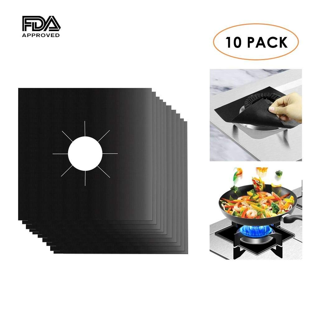 Aolvo Gas Stove Vent Cover, Gas Propane Oven Stove Burner Protector Square Electric Stove Cooktop Burner Covers Set Reusable Stovetop Liners Teflon Coated Cuttable Non Stick FDA Approved Black 0.2mm