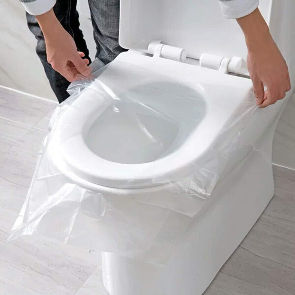 50 Pcs Universal Portable Toilet Disposable Sticker Toilet Seat Cover Business Travel Stool Set for Travel Hospitalization Hotels Public Places,Naturally Dissolved Into Toilet