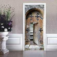 Ретро китайские винтажные старые деревянные двери комнаты 77x200 см 3D двери наклейки для гостиной спальни ПВХ клей обои домашний декор(Китай)