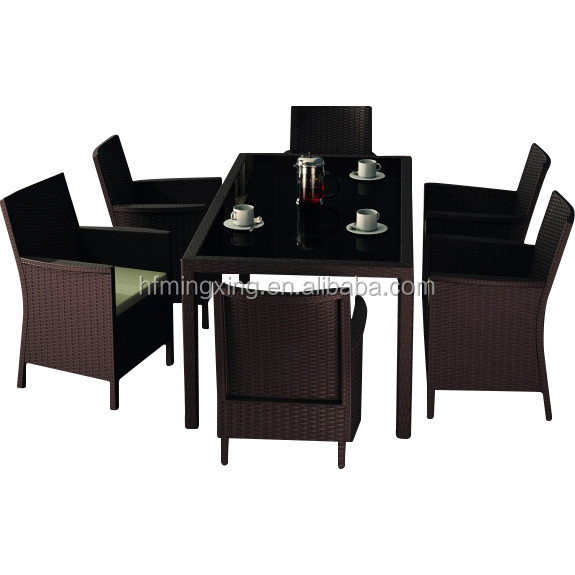 HOT NEW Rectangular Rattan Dining Set - 6 Seater