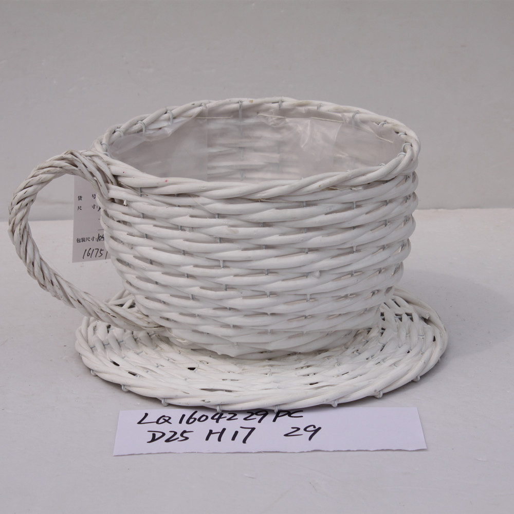 teacup shaped wicker decoration flower basket with mat
