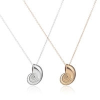 New Gold Ariel Voice Shell Necklace Spiral Swirl Sea Snail Necklace Ocean Beach Conch Necklaces For Women Party Gift XL036
