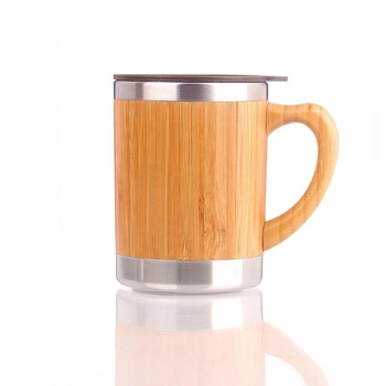 300ml/10oz leak proof bamboo stainless steel insulated travel coffee cup tea mug with handle