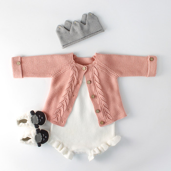 Latest Spring Baby Clothes Ins Toddler Girl Sweater Coat White Ruffle Knit Romper Baby Girls Romper
