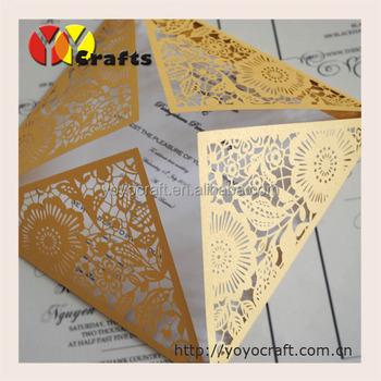 new product unique paper flower lace laser cut golden wedding