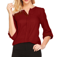 37384f8f3cf53e Women Chic V Neck Long Sleeve Solid Color Loose Chiffon Shirt Casual Blouse  Top(China