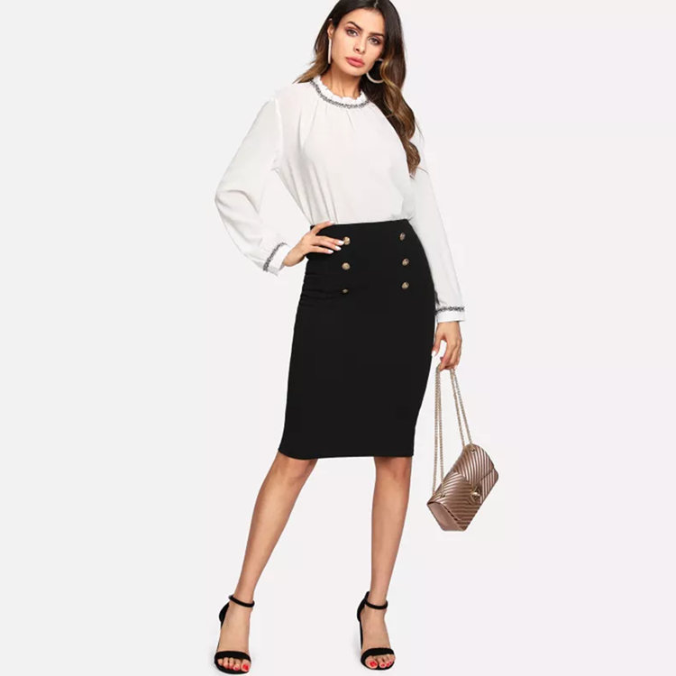 Clothing Factory Women Elastic Knitted Stretch Bodycon Midi Pencil Office Skirts