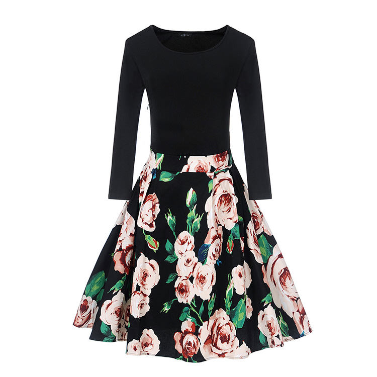Hot Selling Long Sleeve Printed Mini Floral Wrap Vintage Plus Size Dresses S-2XL