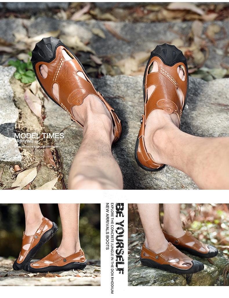 Zurriago Al Aire Genuino Inferiores Suaves Cuero Hombres Sandalias Zapatillas Libre Verano De Los Zapatos Casual lF3c51JuTK