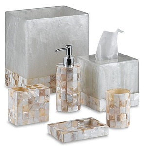Hotel Bathroom Accessories Mother of Pearl Resin Bath Set