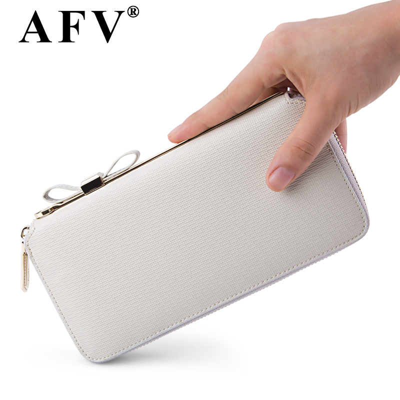Men Wallets Rushed Genuine Leather Unisex Solid Dollar Price Afv Zipper Purse Long Hand Bag Leather Thin Card 2015 New