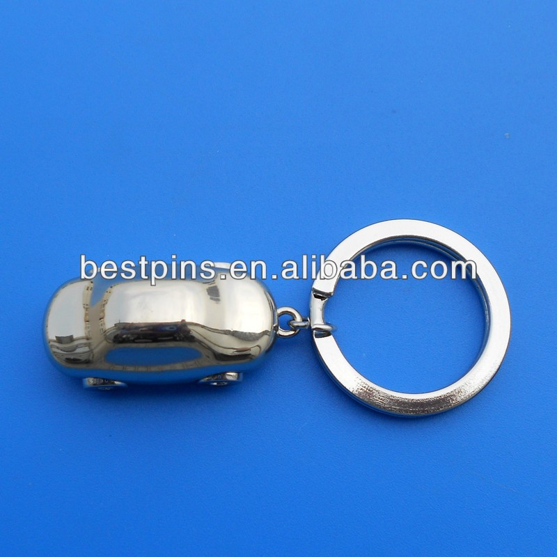 3D silver car keychain, car shape key chain with logo engraved