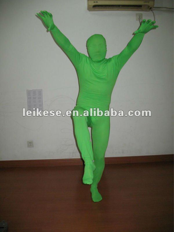lime green lycra full body suit
