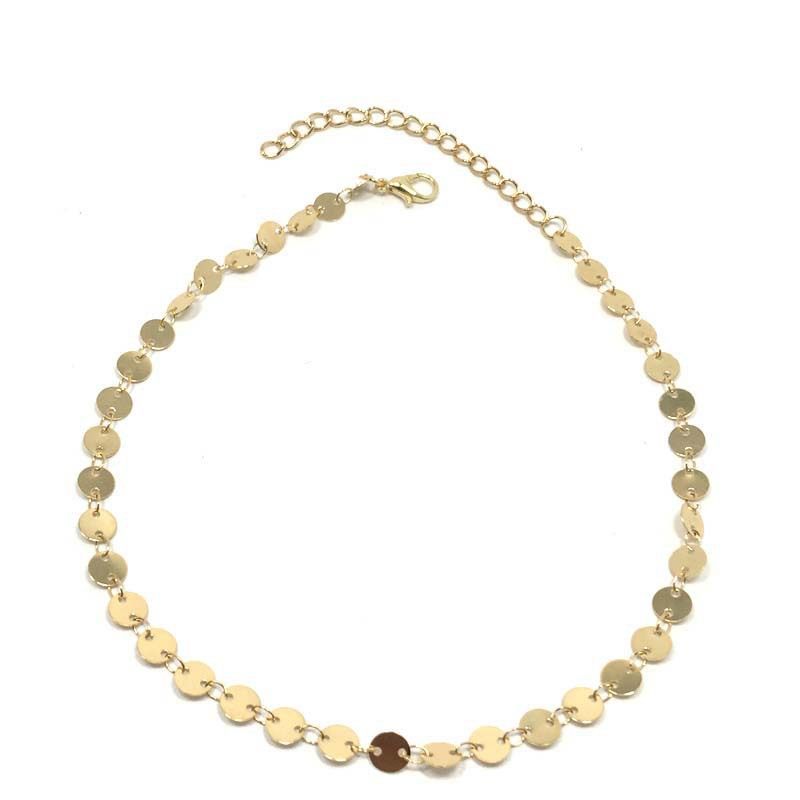 Fashion Women Jewelry High Quality Gold Plated Single Copper Sequins Choker Necklace
