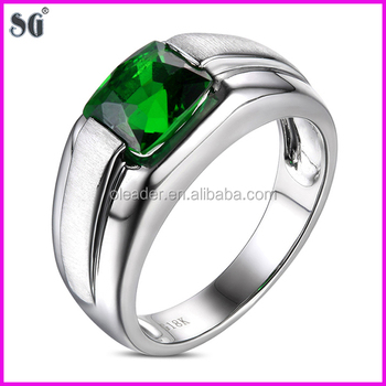 Plated 18k White Gold Ring With Emerald Stone And Pave Zircon Edge