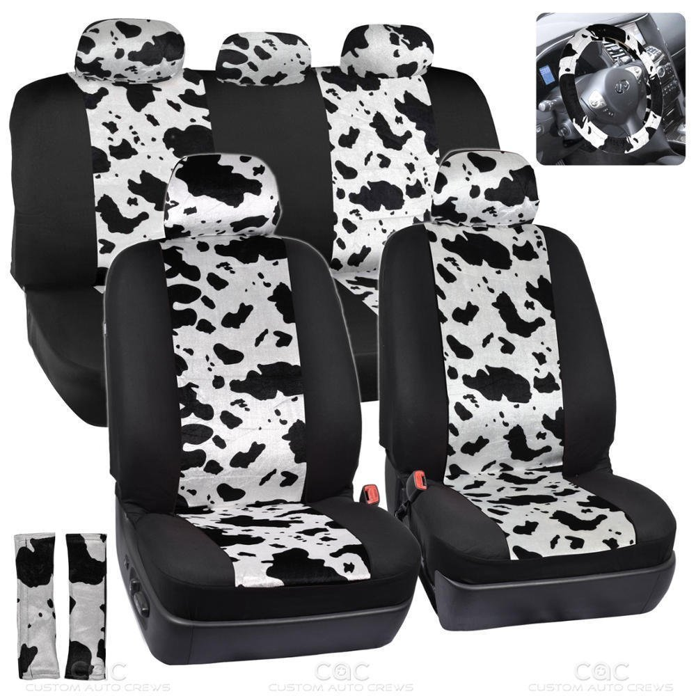 Get Quotations Cow Car Seat Covers White Black 12pc Set W Steering Wheel Belt Pad