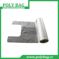 clear t-shirt bags vest carrier on roll for supermarket