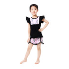 wholesale boutique flutter sleeve top kids baby clothes sequin summer outfits