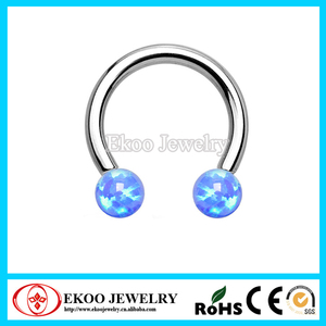 316L Steel Internally Threaded Circular Barbell with Opal Ball Body Piercing Jewelry
