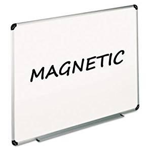 Magnetic Dry Erase Board, Melamine, 36 x 24, White, Aluminum/Plastic Frame, Sold as 1 Each