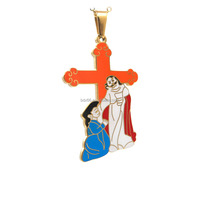 Religious Souvenir Gift Gold Plated Stainless Steel Catholic Colorful Enamel Saint Virgin Mary Jesus Cross Crucifix Pendant