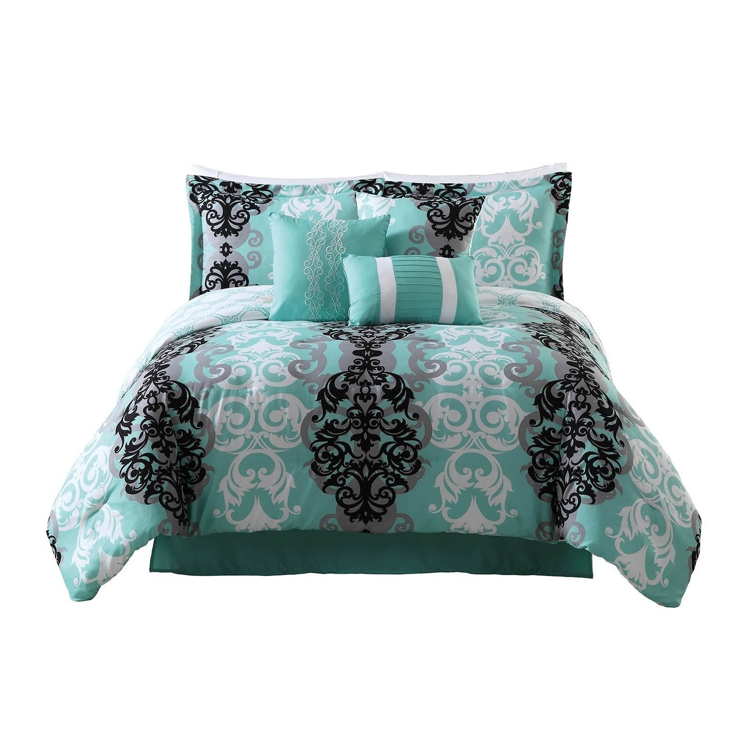 L&M 7 Piece Teal Blue Damask Themed Comforter Queen Set, Grey Black White Floral Paisley Bedding Swirl Scroll Motif Romantic Flower Pattern Gray, Microfiber