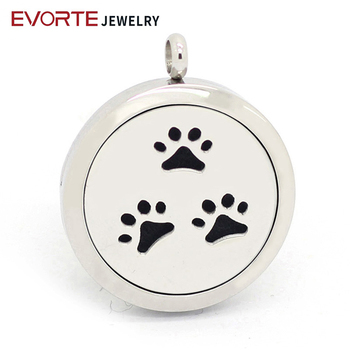 Wholesale Bear's Paw Design 20mm,25mm,30mm 316L Stianless Steel Essential Oil Diffuser Locket Necklace