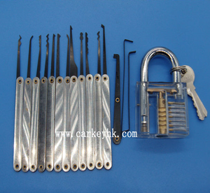 Transparent Practice Padlocks With 12pcs Unlocking Lock Pick Set Key Extractor