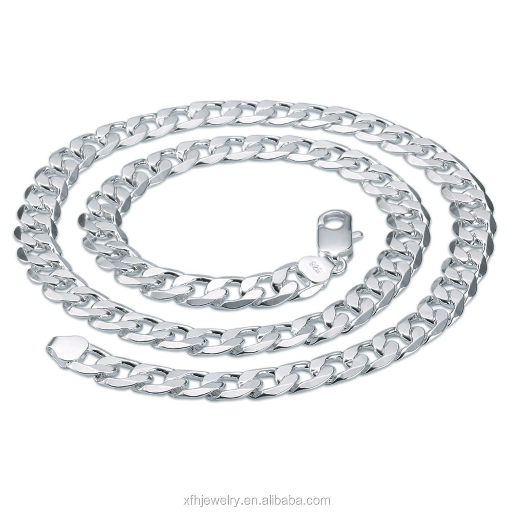 Fashion jewelry factory 925 Sterling <strong>Silver</strong> 7mm 8mm 10mm 12mm buckle sideways thick Necklace Fashion <strong>Silver</strong> Necklace
