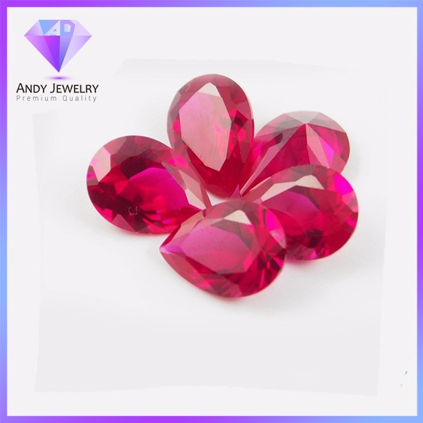 synthetic artificial man made stone pear cut ruby