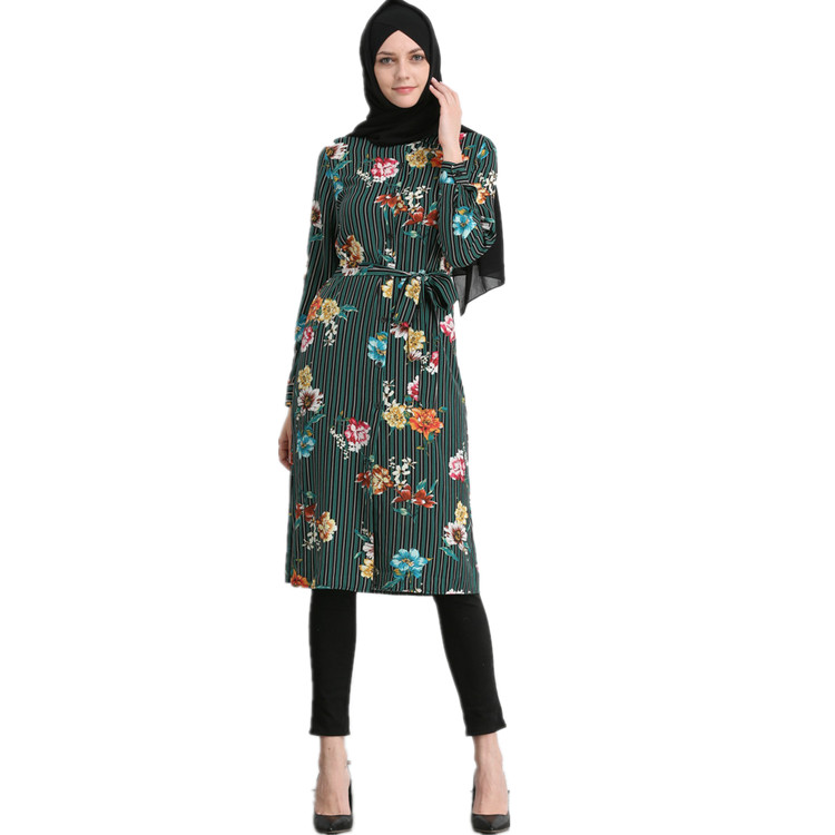 Trendy Middle East Modern Fashion Islamic Tunic,Turkey Women Blouse Flower Printed Top Long Shirt