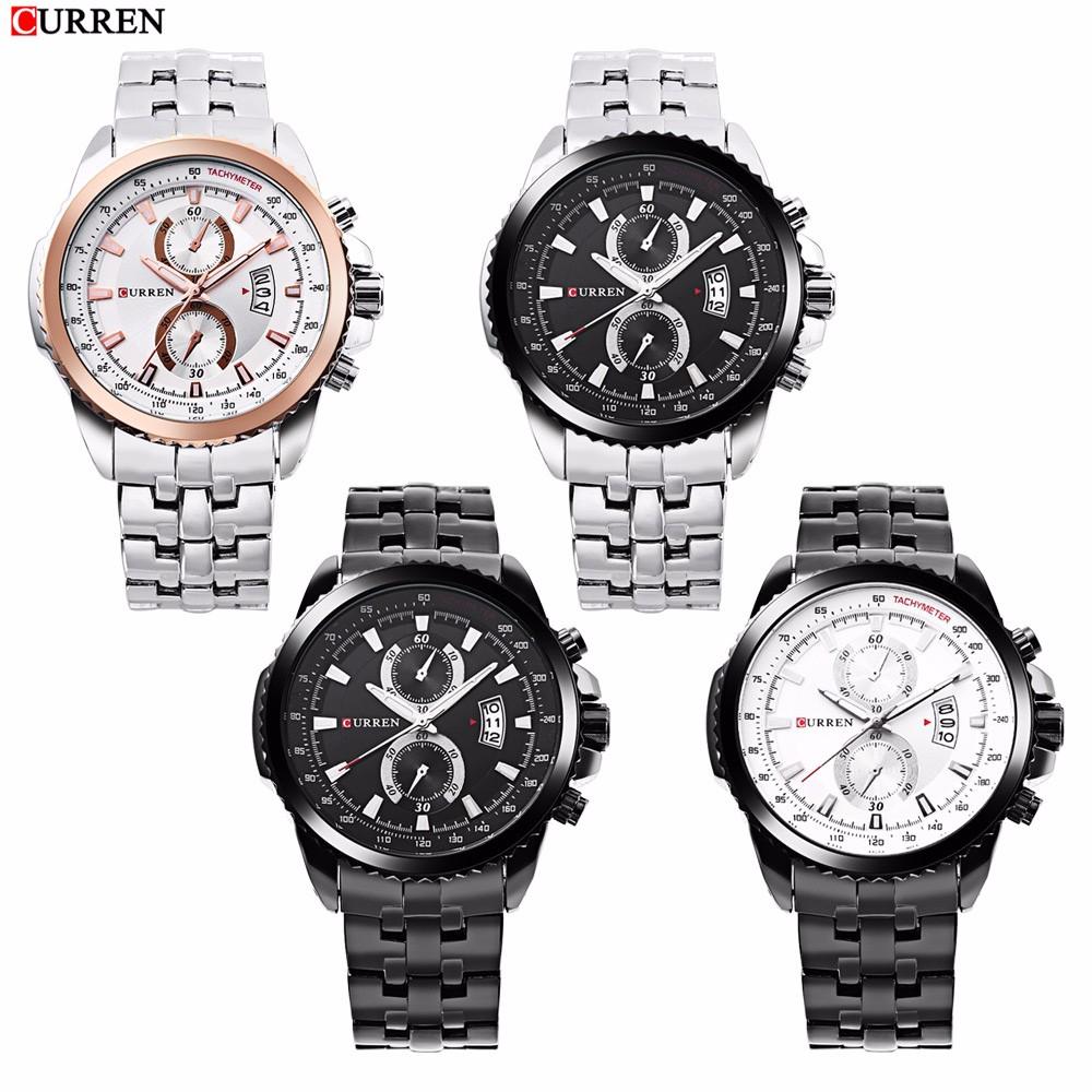 CURREN 8082 Brand Men Quartz Watch, Hot Sale Stainless Steel Quartz Men Analog Sports Watches
