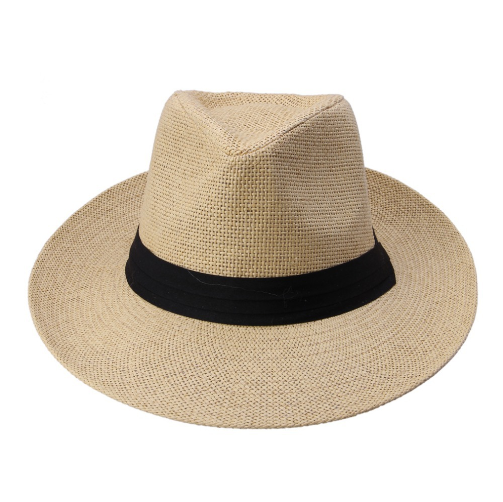 f74aa9cf430 Hot Fashion Summer Casual Unisex Beach Trilby Large Brim Jazz Sun Hat  Panama Hat Paper Straw Women Men Cap With Black Ribbon