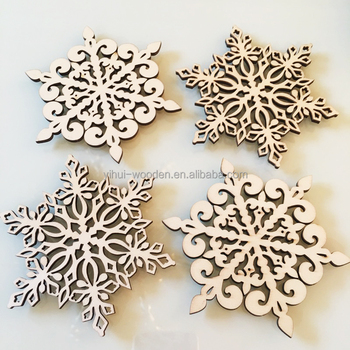 Wooden Christmas Promotional Gifts Tea Cup Mat Cheap Plywood Snowflake Drink  Coaster