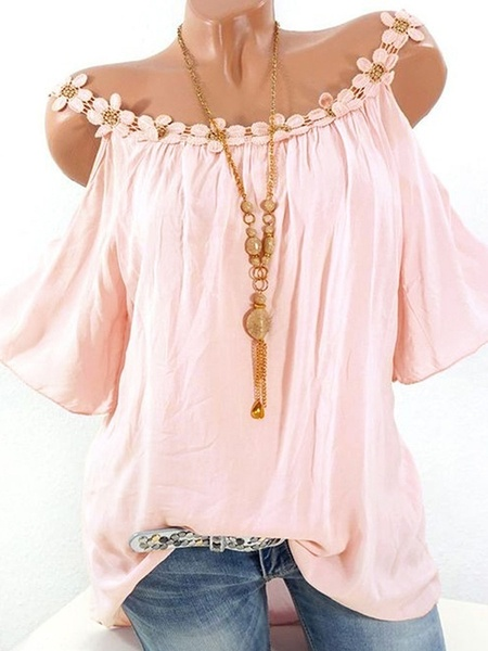 new women Casual Off Shoulder Lace Collar Blouse Loose Solid Color T Shirt Plus Size