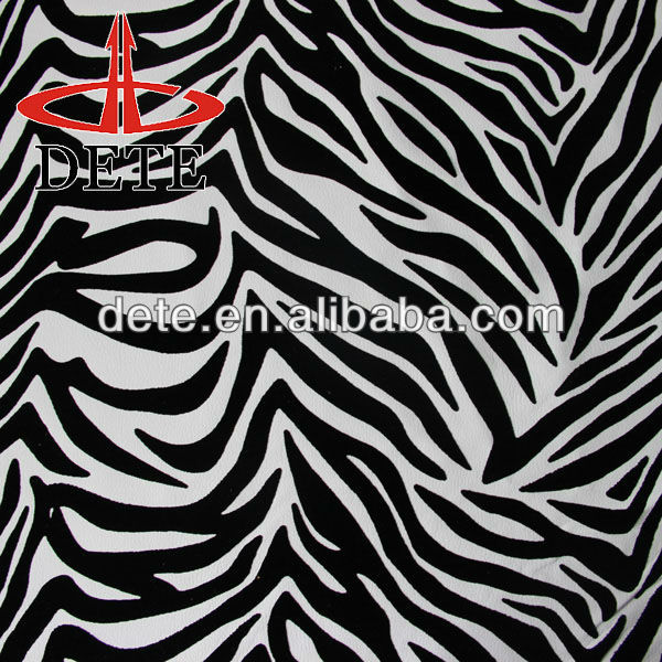 Zebra PU Flocked Synthetic Leather for sofa Made in china