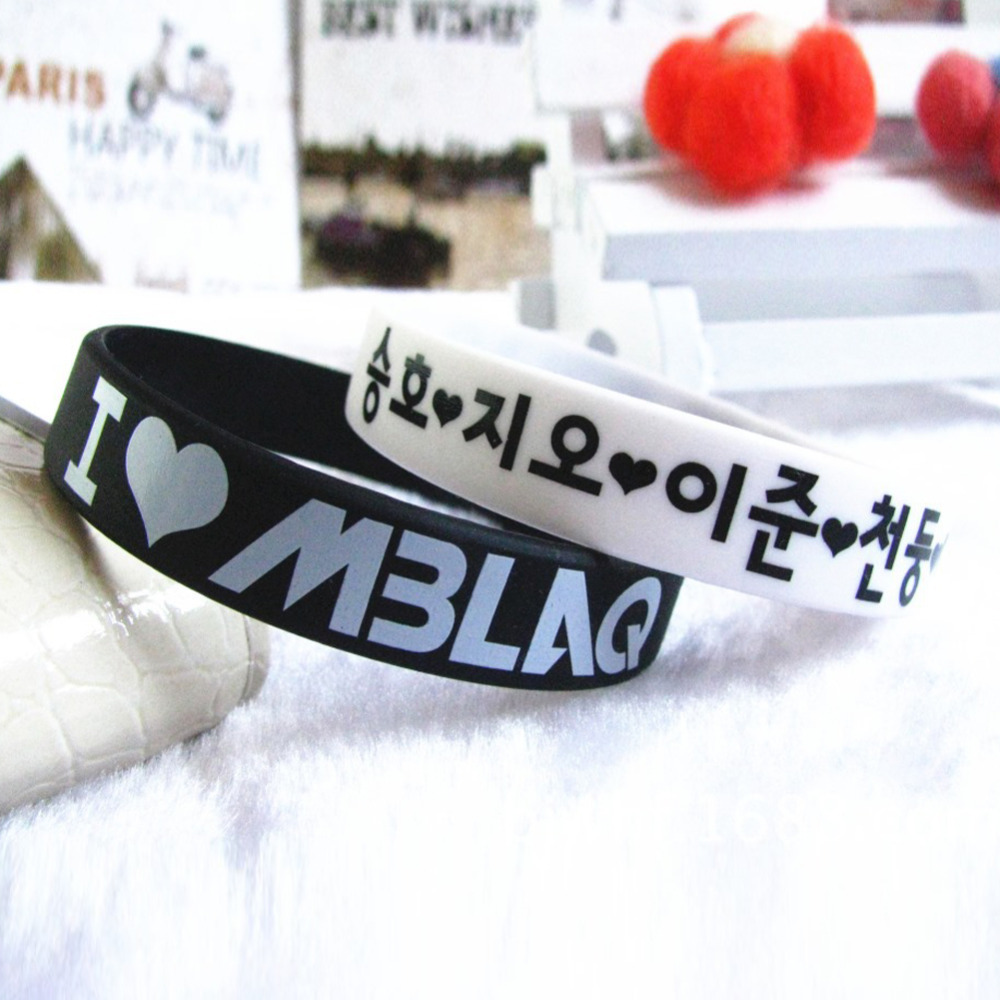 Модные силиконовые я люблю буквы унисекс резиновые браслеты цвет белый черный очаровательная аксессуары BL-0306