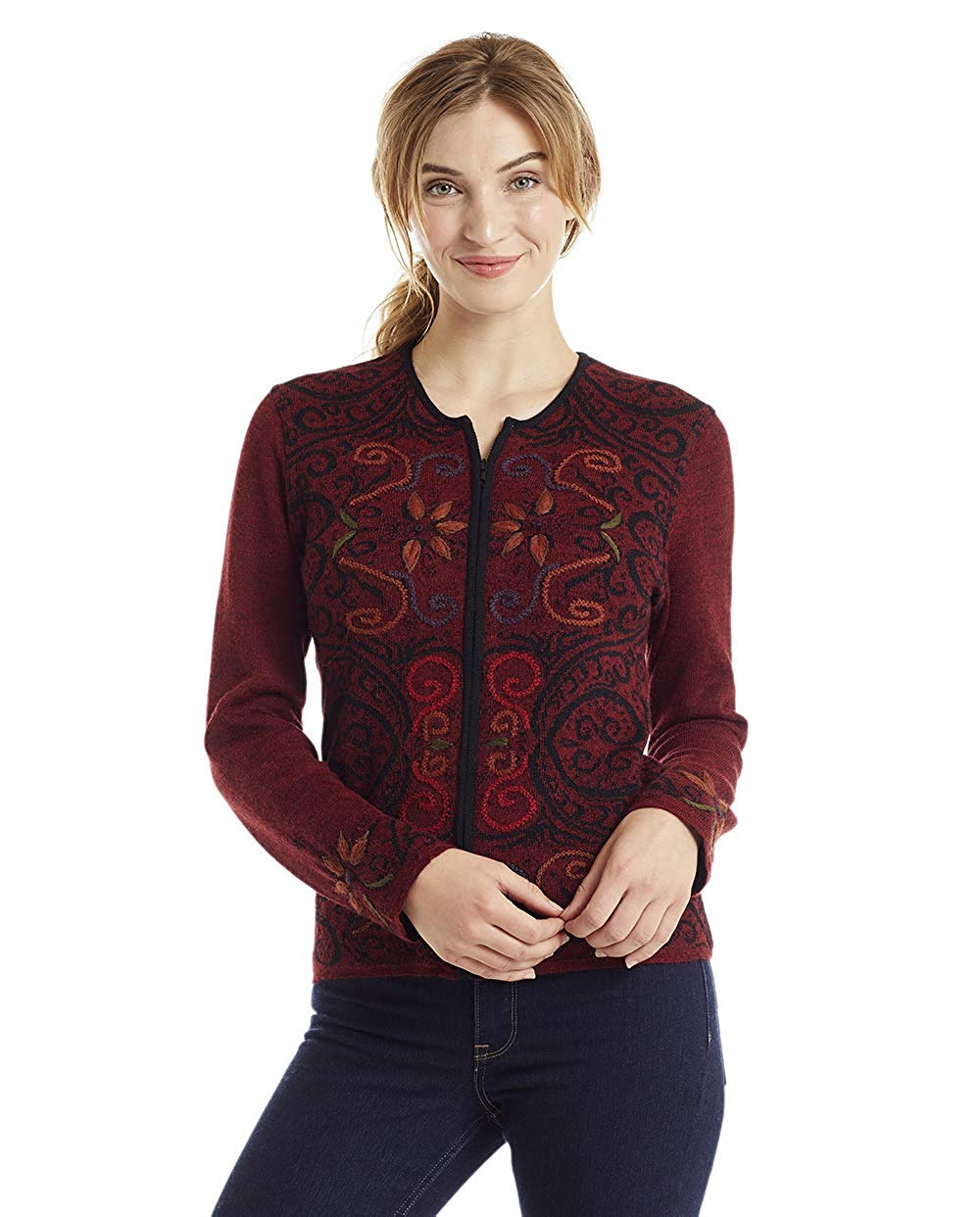 26753b73a2c Get Quotations · Invisible World Women s Baby Alpaca Wool Sweater  Reversible Cardigan Arabesque