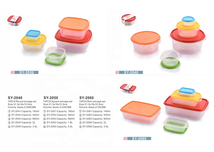Custom Design 10Pcs Rect Storage Food Container Set