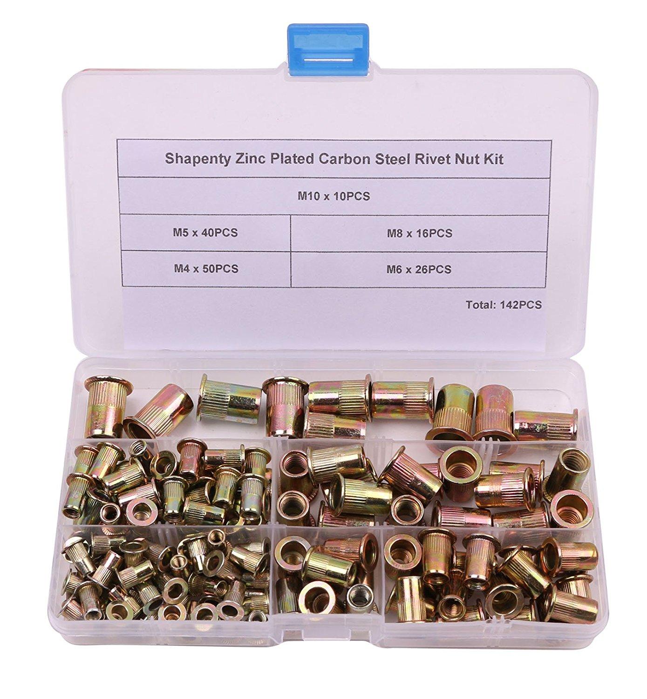 Shapenty 5 Sizes M4 / M5 / M6 / M8 / M10 Zinc Plated Carbon Steel Rivet Nut Threaded Rivnut Insert Nutsert, 142PCS