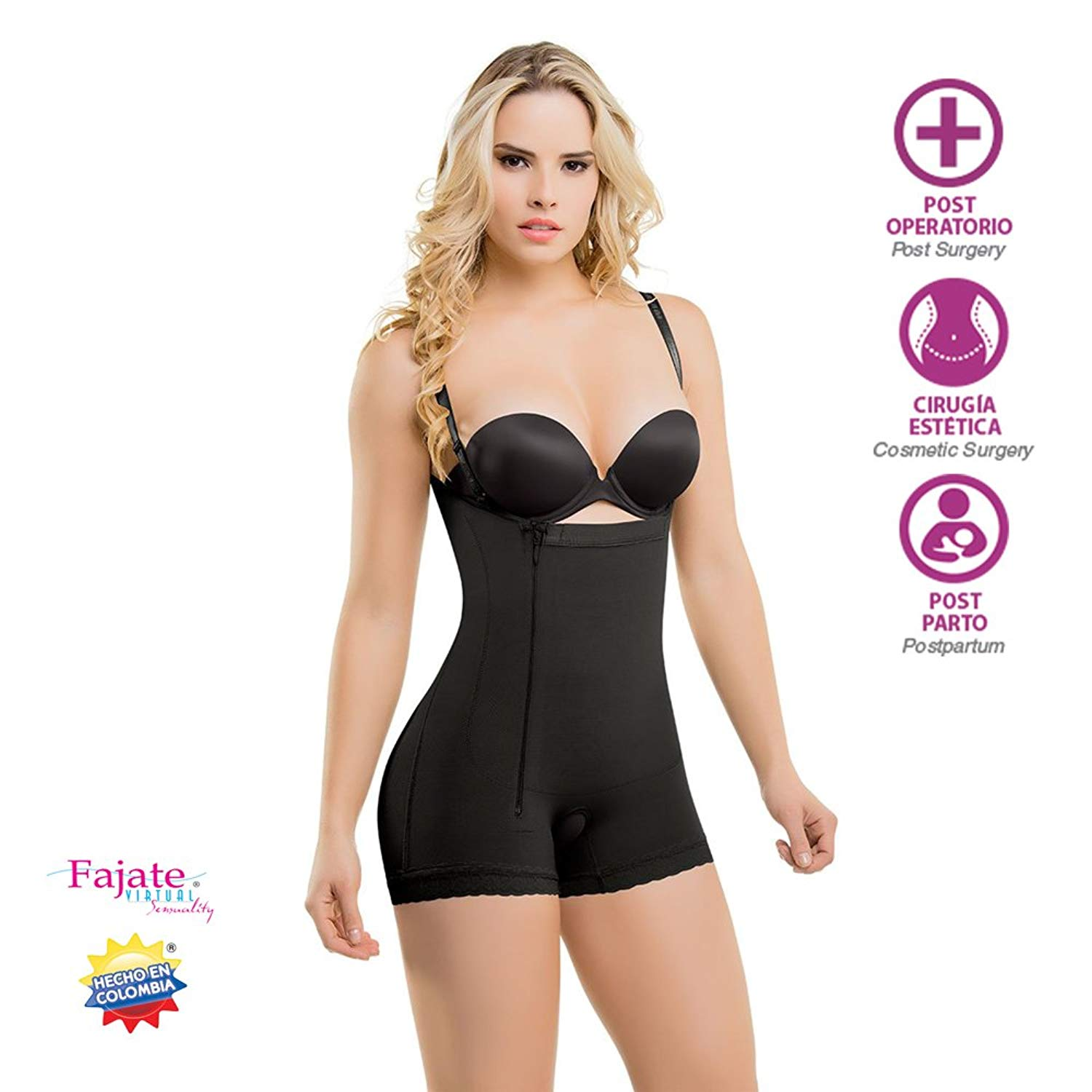 9e9d51f504 Get Quotations · Colombian Post-Surgery Postpartum Body Shaper Girdle  Thin Removable Straps Faja Colombiana Fajate