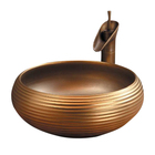 Bathroom luxury ceramic hotel gold color wash basin golden bathroom art water sink bowl
